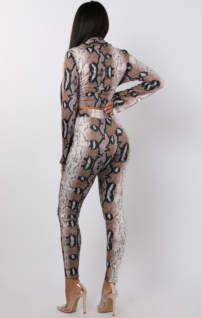 Animal Snake Print Tie Front Two Piece Co-ord Set - Cora