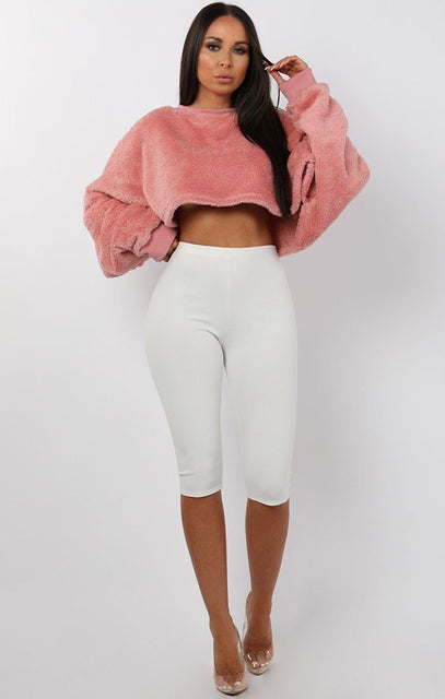 Rose Fluffy Cropped Batwing Oversized Jumper - Mya