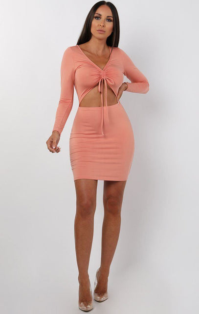 Rose Long Sleeve Cut Out Mini Dress - Piper