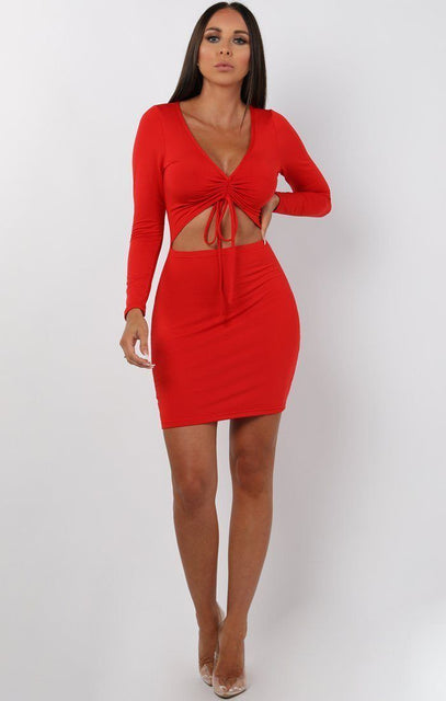 Red Long Sleeve Cut Out Mini Dress - Piper