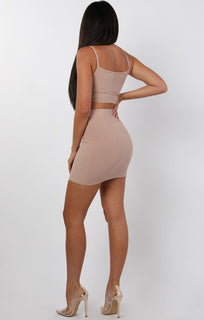 Nude Mini High Waist Skirt Two Piece Co-ord Set - Aliyah