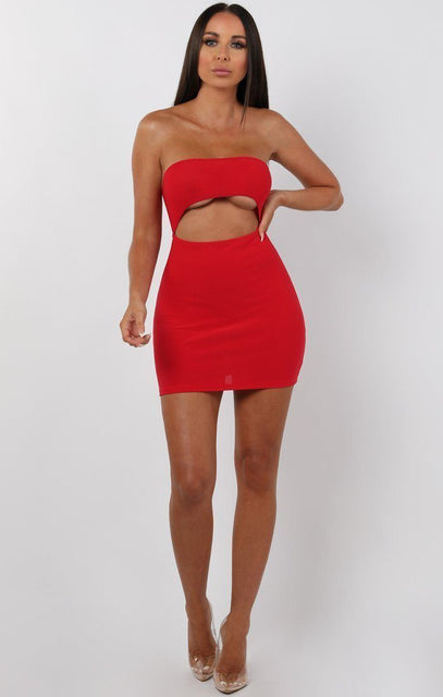 Red Bandeau Cut Out Mini Dress - Leana