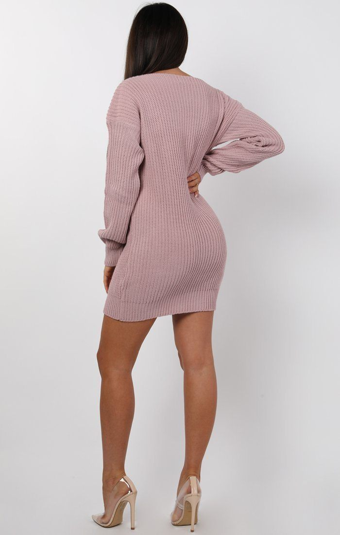 Nude Bodycon Long Sleeve Jumper Dress - Cara