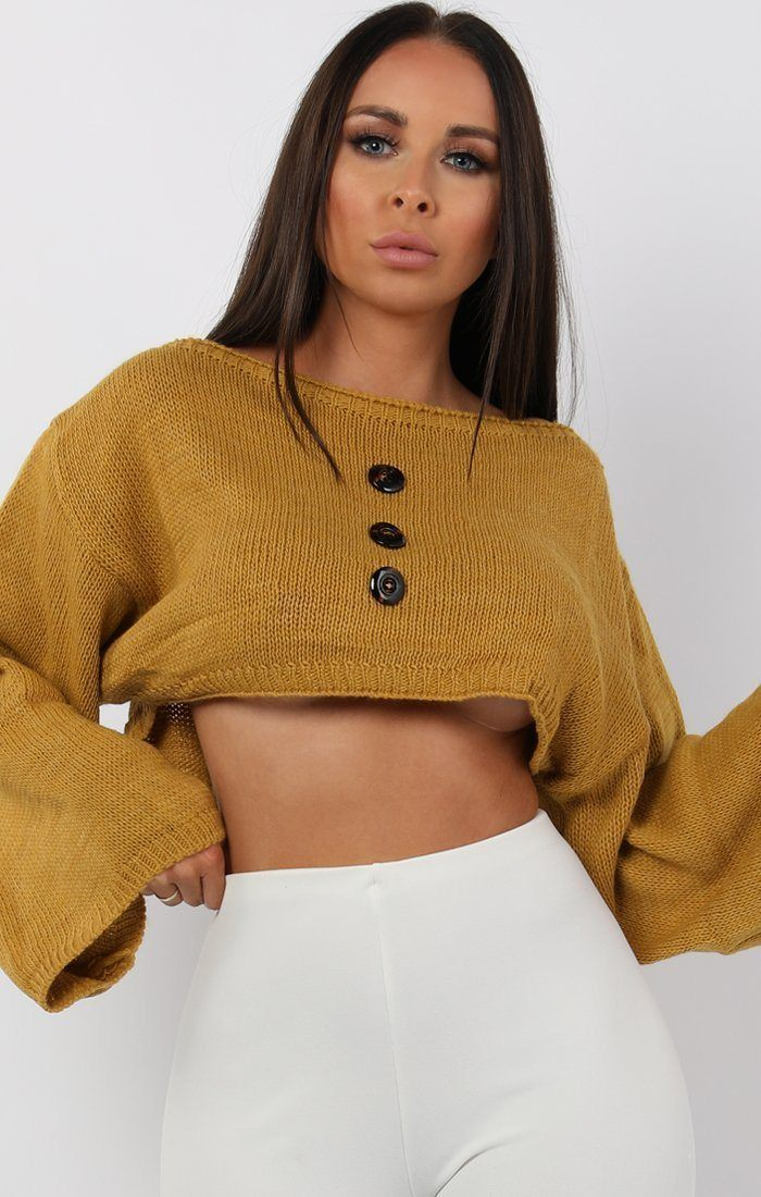 Mustard Flare Sleeve Button Front Crop Jumper - Sabrina