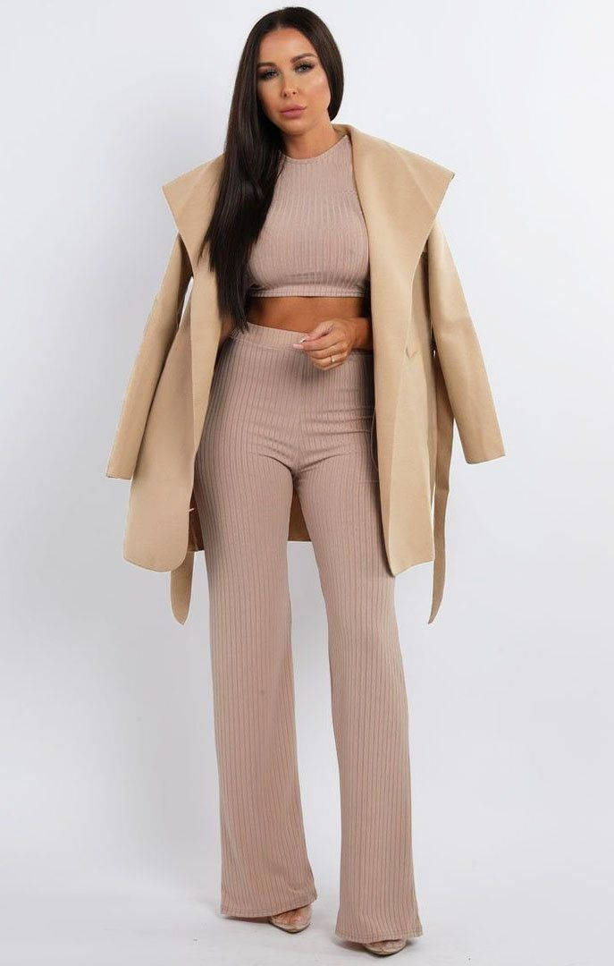 Beige Waterfall Belted Coat - Daya
