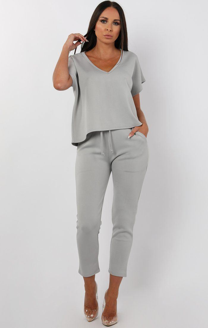 Grey V-Neck Boxy Loungewear Set - Estelle loungewear FemmeLuxe