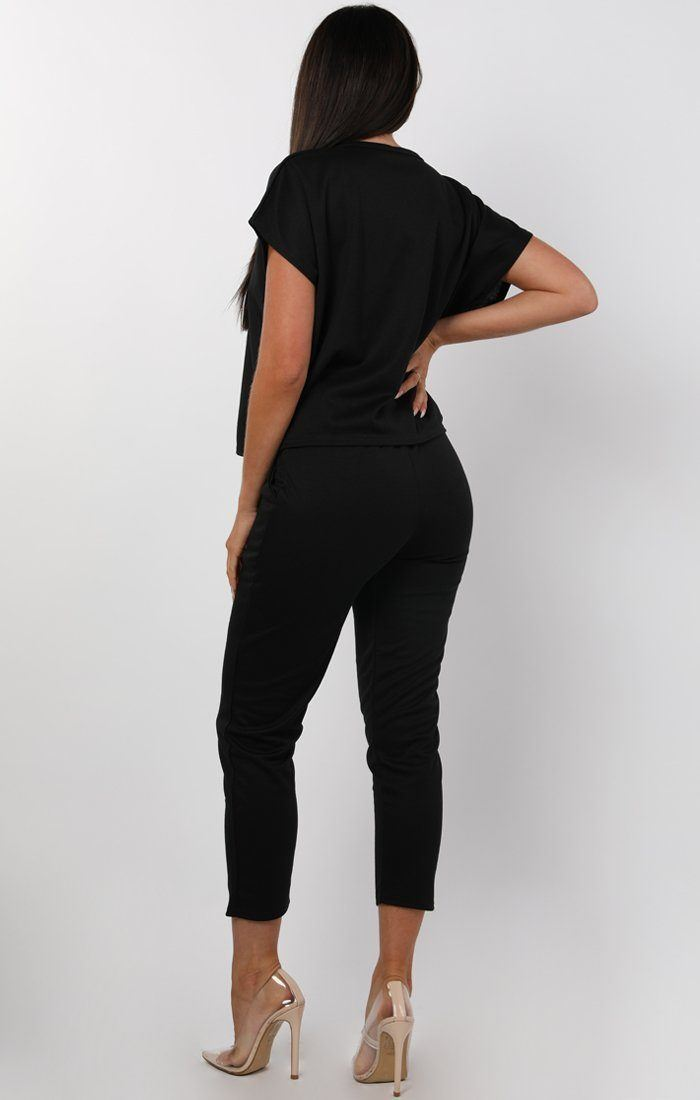 Black V-Neck Boxy Loungewear Set - Estelle