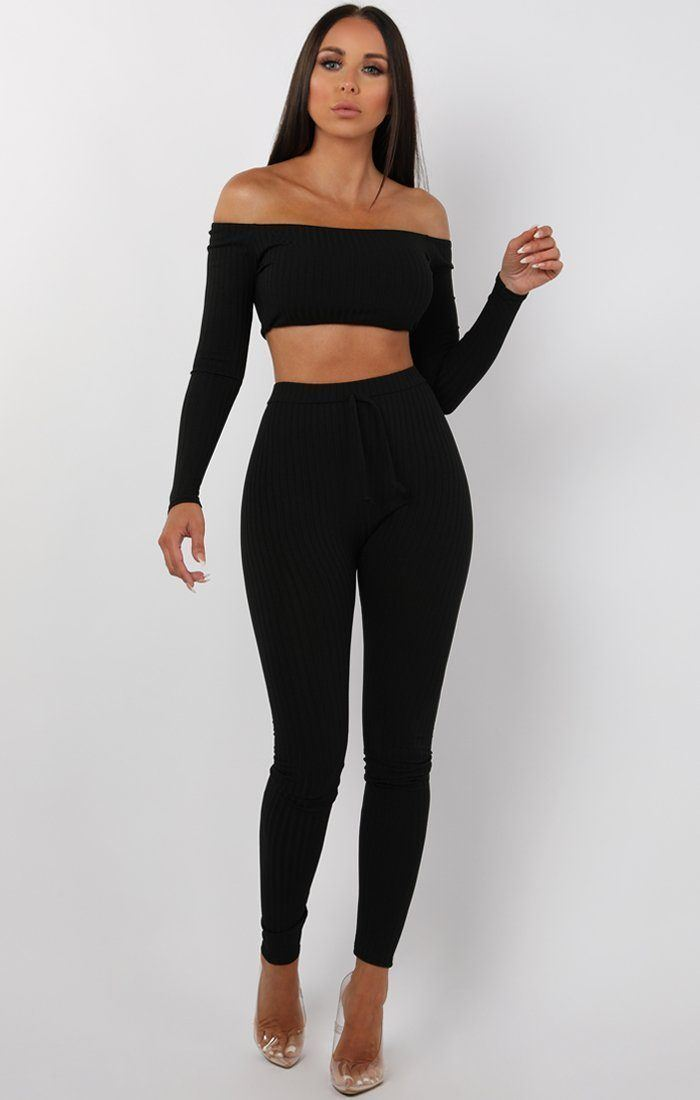 Black Bardot Ribbed Loungewear Set - Estelle