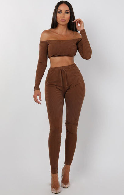Brown Bardot Ribbed Loungewear Set - Estelle