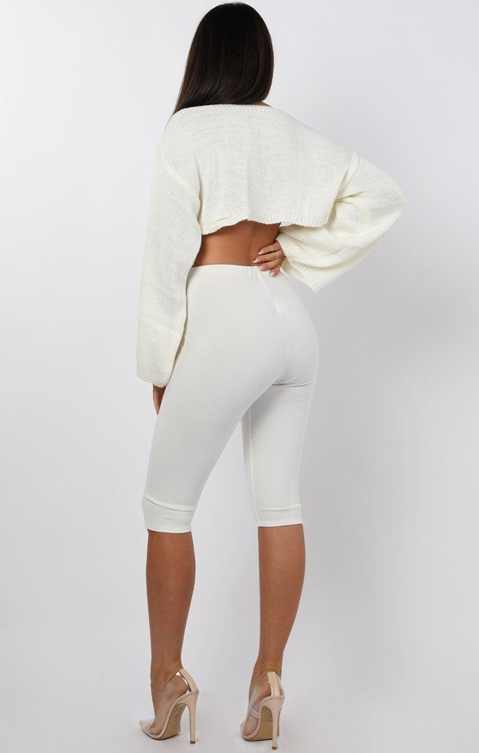 White Flare Sleeve Button Front Crop Jumper - Sabrina