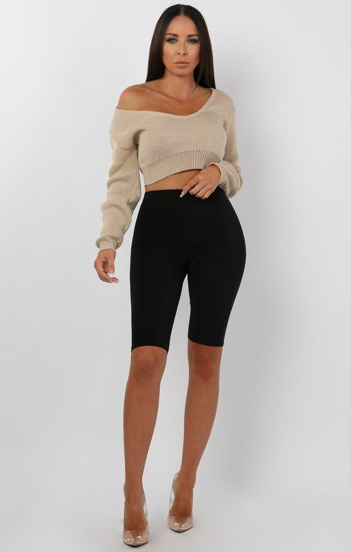 Stone V-Neck Cropped Jumper - Cordelia