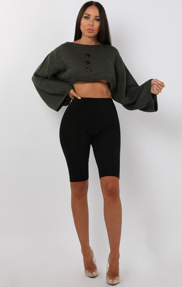 Khaki Flare Sleeve Button Front Crop Jumper - Sabrina