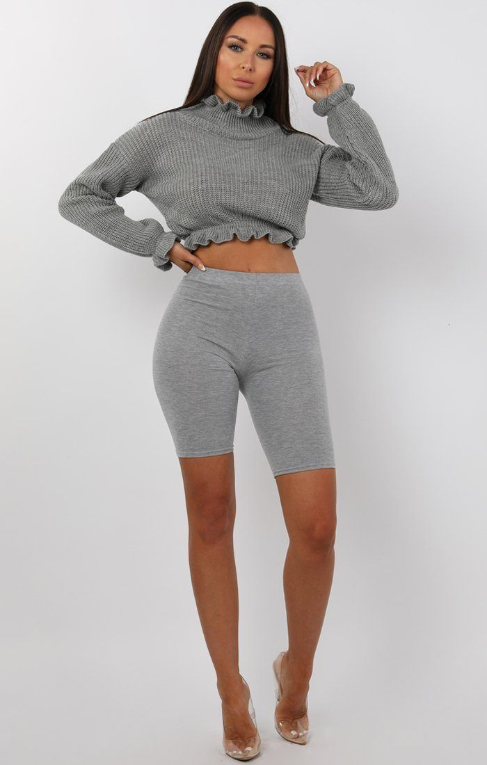 Grey Ruffle Hem Chunky Knit Crop Jumper