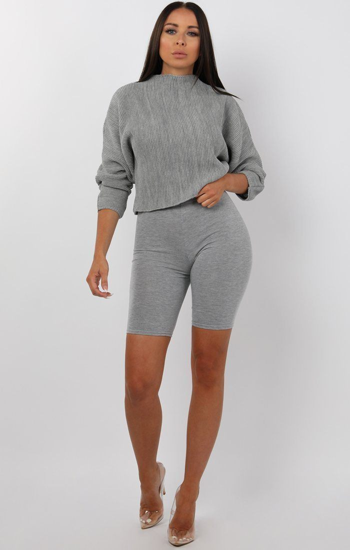 Grey Batwing Cropped Jumper - Tatum