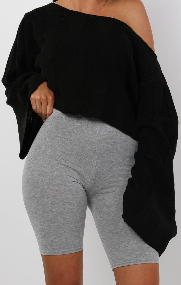 Black Jumbo Ribbed Oversized Crop Jumper - Raven