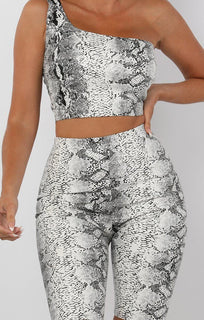 White Animal Snake Print Pu One Shoulder Crop Top - Keeley