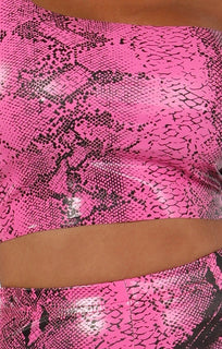 Hot-Pink-Snake-Print-Pu-One-Shoulder-Crop-Top-Keeley