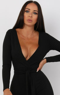Black Slim Belted Jumpsuit - Teagan