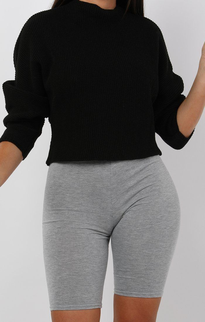 Black Batwing Cropped Jumper - Tatum