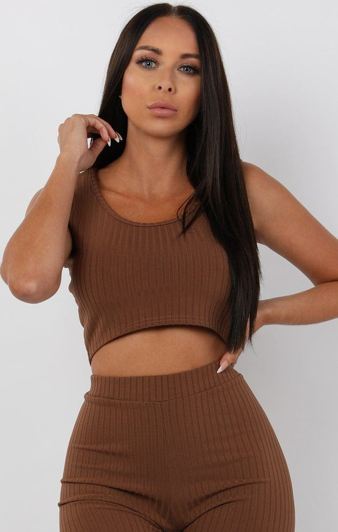 Brown-Ribbed-Two-Piece-Set-Amaria