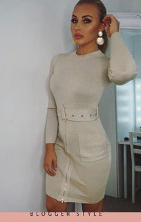 Cream Belted Bodycon Dress - Vicky