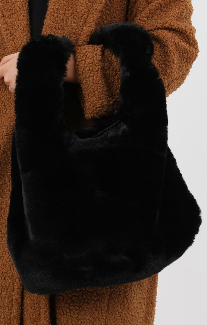 Black Fluffy Faux Fur Tote Bag - Elisa