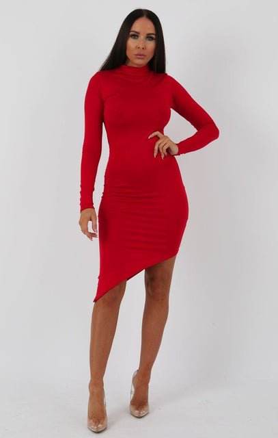 Red Long Sleeve High Neck Split Bodycon Dress - Sabrina