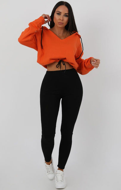 Orange V-Neck Crop Jumper - Cassidy