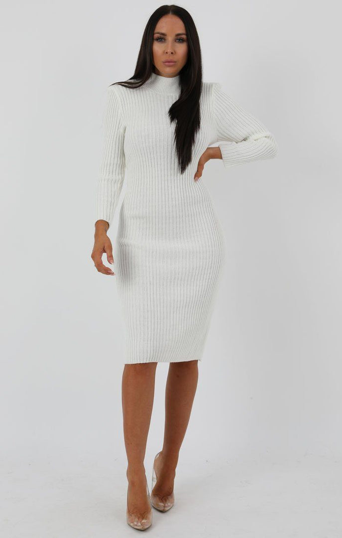 Cream Knitted Ribbed Long Sleeved Midi Dress - Ellie