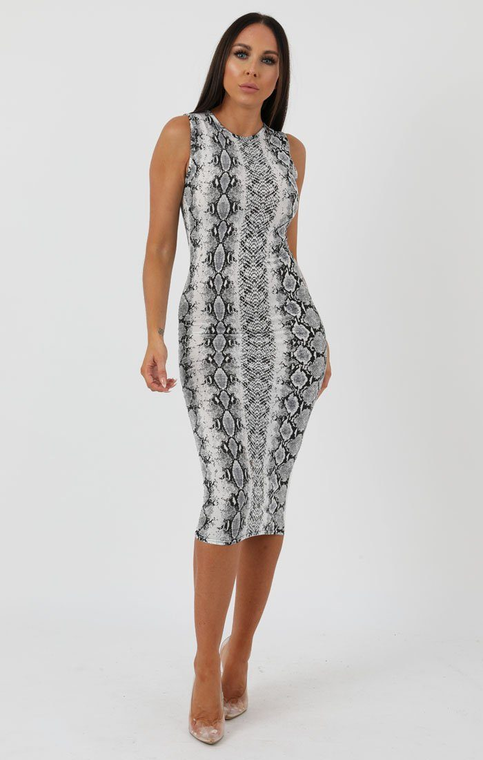 a65eacef69 Animal Snake Print High Neck Bodycon Midi Dress - Lucy