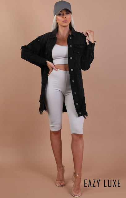 Black Distressed Oversized Longline Denim Jacket – Madison