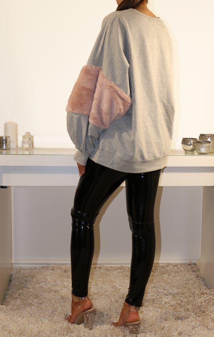 Grey Oversized Faux Fur Panel Sweatshirt