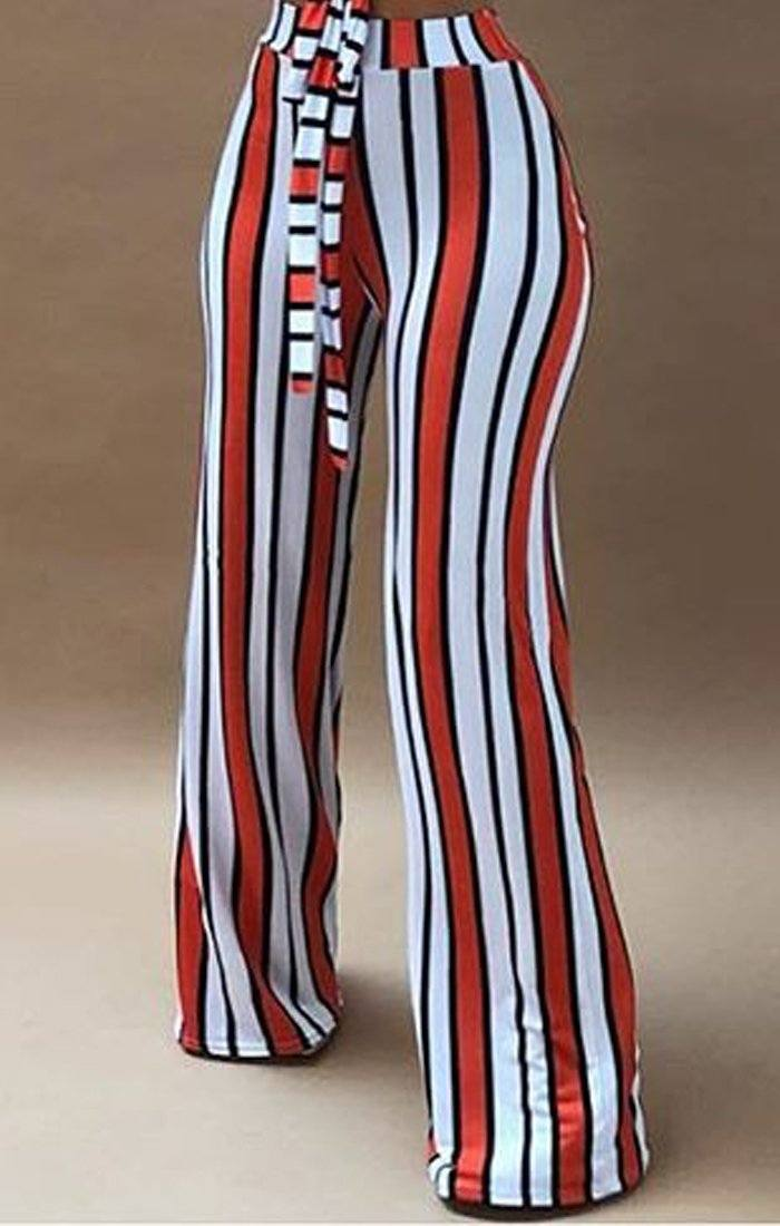 Orange And White Striped Trousers - Felicity