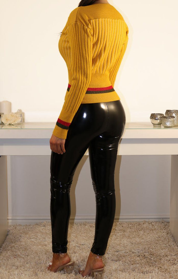 MUSTARD STRIPED CORSET FRONT KNITTED JUMPER