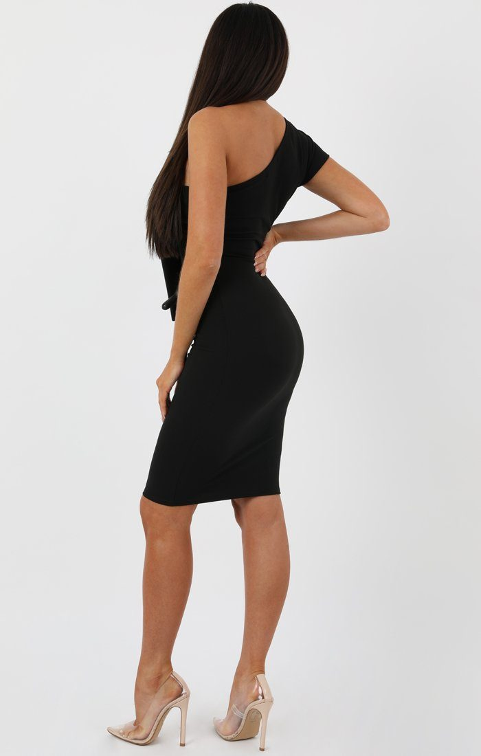 Black Frill Overlay Bodycon Midi Dress - Piper