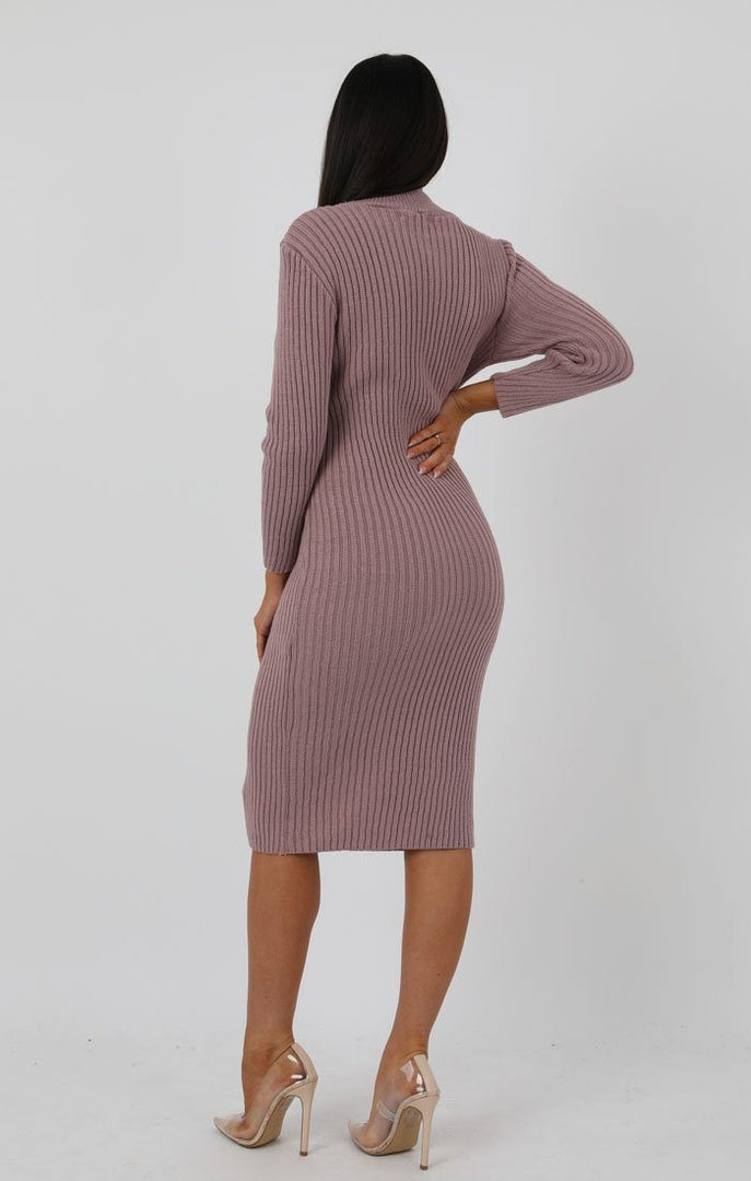 Rose Knitted Ribbed Long Sleeved Midi Dress - Ellie