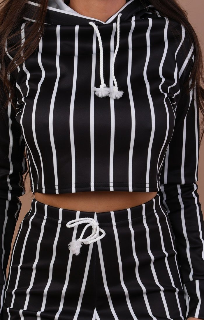 Black Striped Cropped Loungewear Set - Kennedy