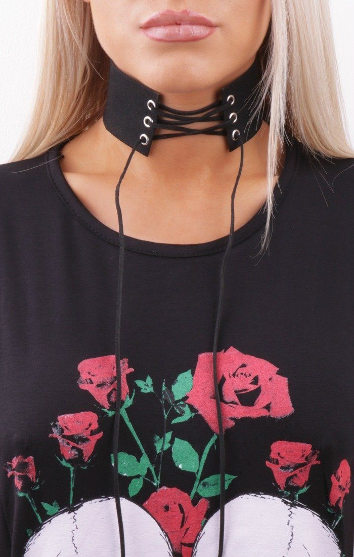 Suede Look Lace Up Choker