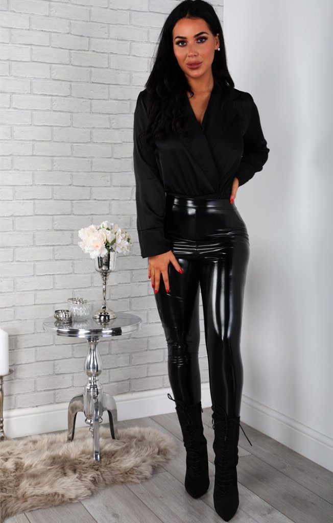 Black Satin Shirt Bodysuit