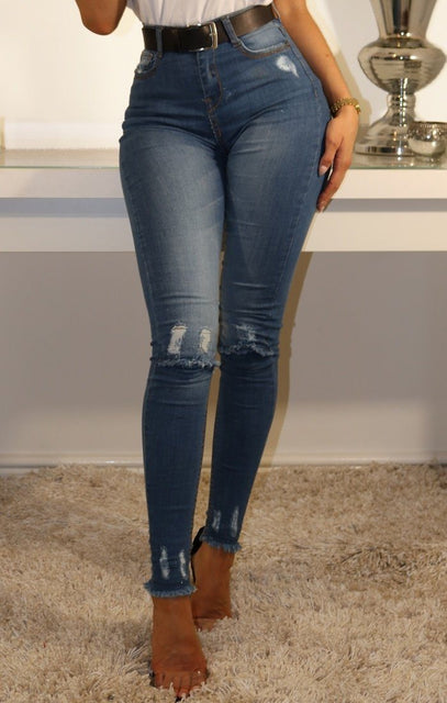 Blue Denim Frayed Hem Skinny Jeans