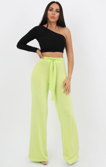 Lime Slinky High Waisted Trousers - Jenna