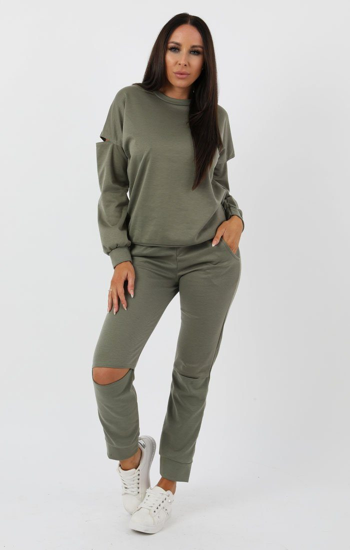 Khaki Boxy Ripped Knee Loungewear Set - Bobbie