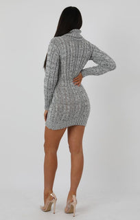 Grey Ribbed Knit Extreme Turtle Neck Bodycon Mini Dress - Saskie