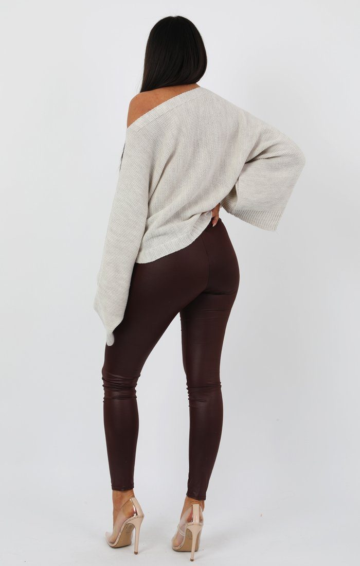 Wine Faux Leather Look Leggings - Catriona