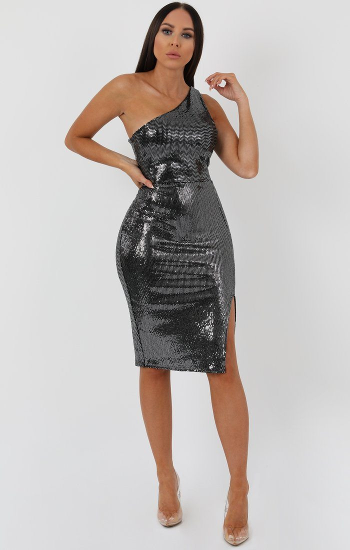 Silver Sequin One Shoulder Side Split Bodycon Dress - Carvella