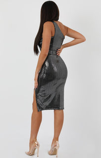 Silver-Sequin-One-Shoulder-Side-Split-Bodycon-Dress-Carvella