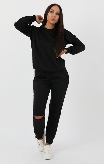 Black Boxy Ripped Knee Loungewear Set - Bobbie