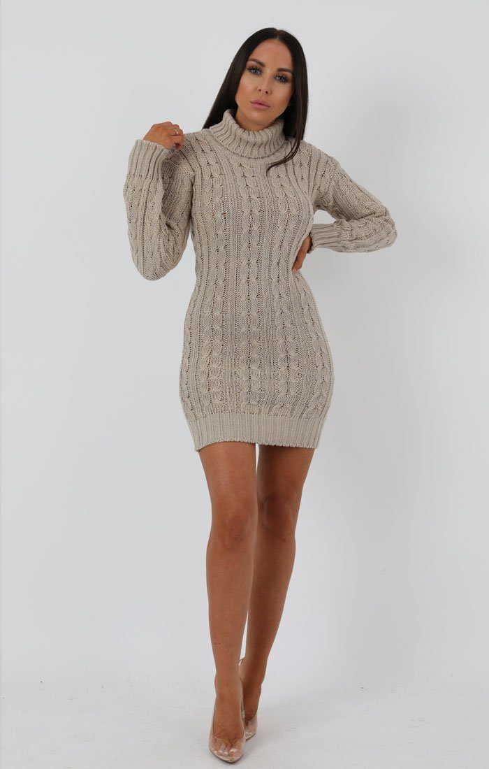 Stone Knit Turtle Neck Bodycon Mini Dress - Saskie