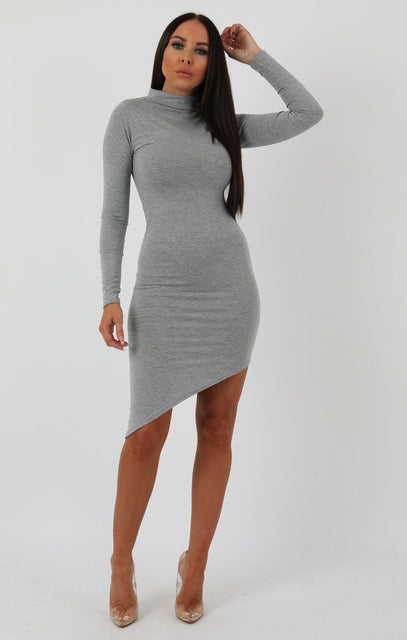 Grey Long Sleeve High Neck Split Bodycon Dress - Sabrina