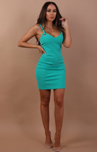 Green Eyelet Bodycon Midi Dress - Rosalie